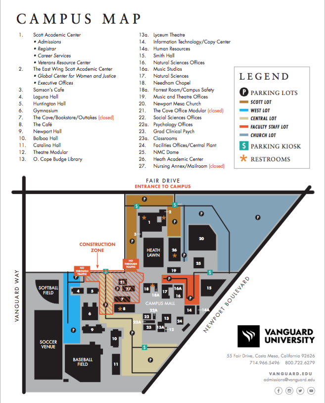 Cal State Fullerton Irvine Campus Map.Campus Map Parking Information Vanguard University